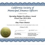 CSMFO Operating Award