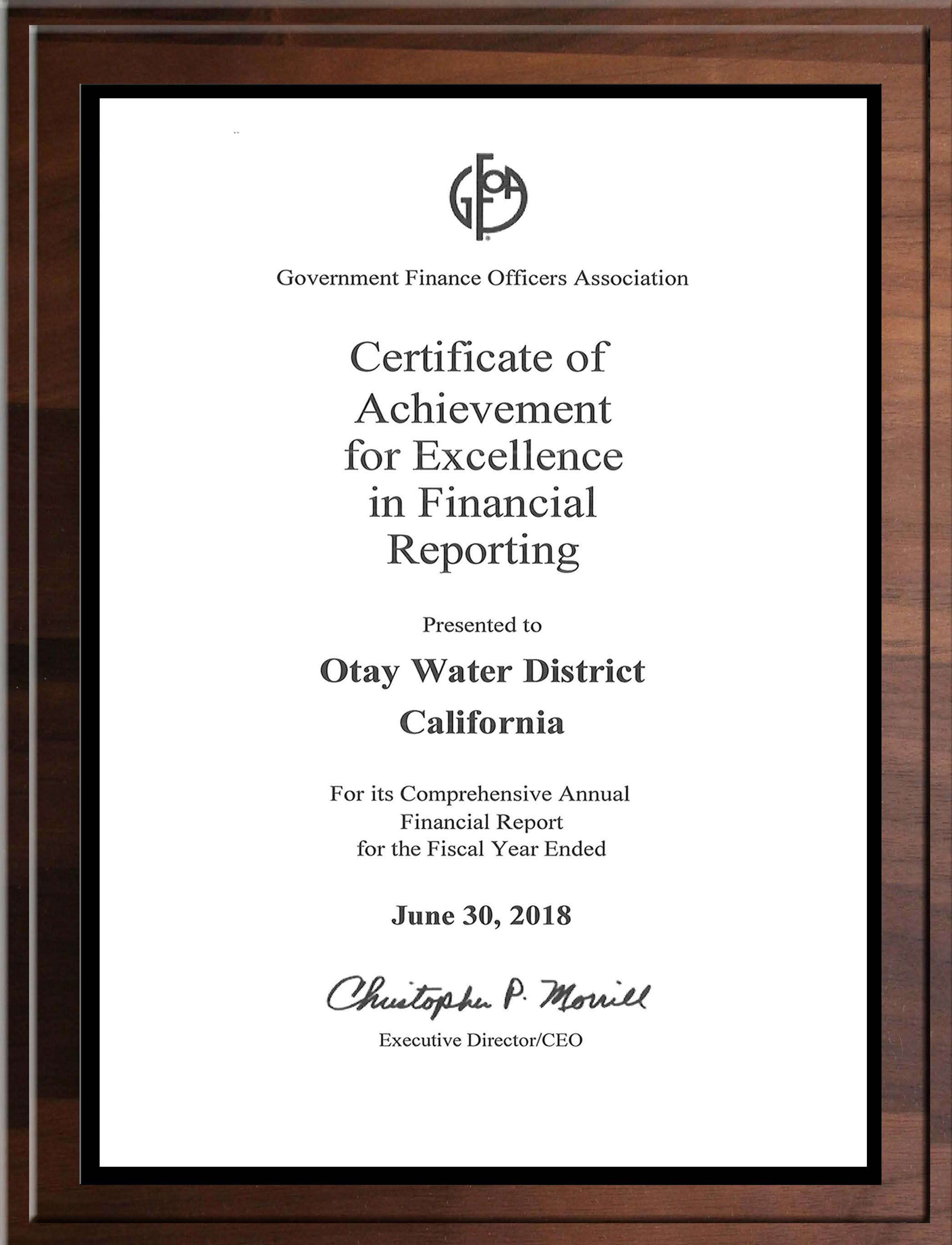 Certificate of Achievement for Excellence in Financial Reporting June 30, 2018