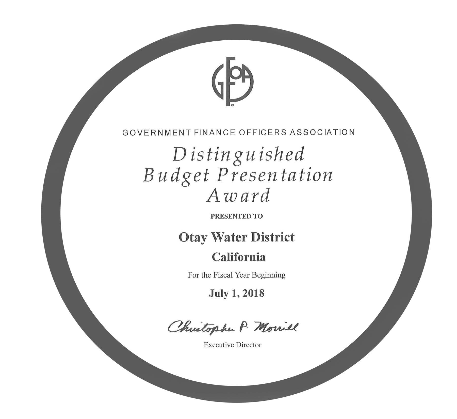 Distinguished Budget Presentation Award July 1, 2018