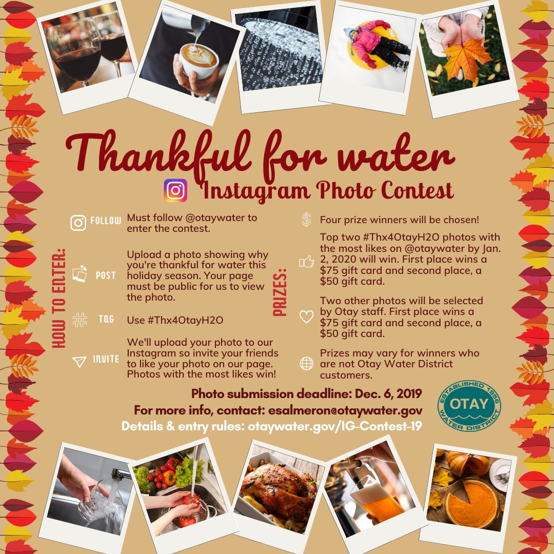 Thankful for Water Instagram Photo Contest flyer