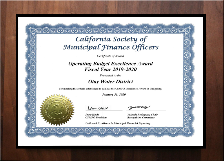 California Society of Municipal Finance Officers Award - Operating Budget Excellence Award FY 2019-2020