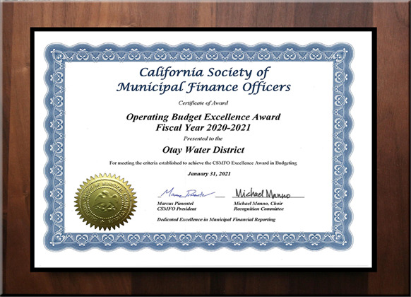 California Society of Municipal Finance Officers Award - Operating Budget Excellence Award FY 2020-2021
